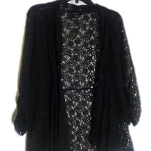 Black Stretch Lace Cover Up - Romantic, Work Wear
